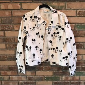 Forever 21 White Mickey Mouse Jean Jacket